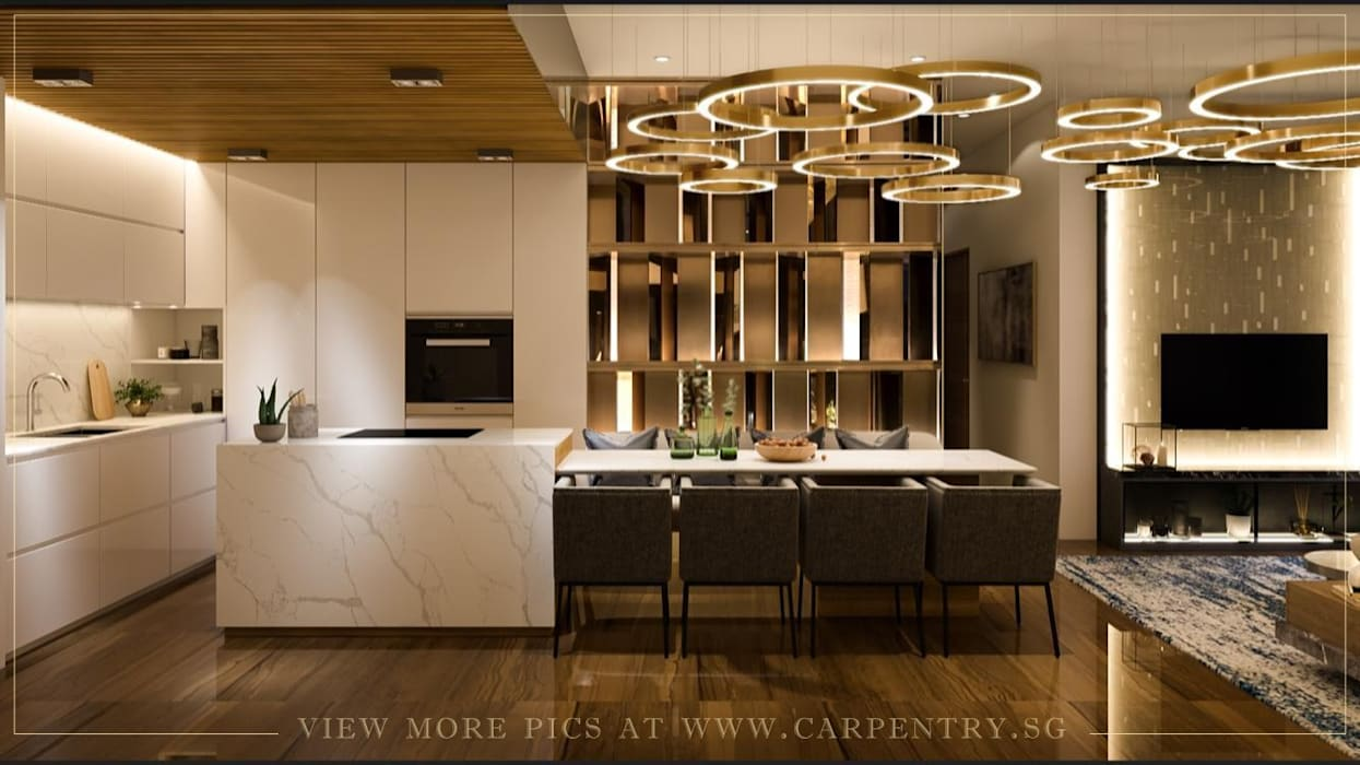 Dining Room / Kitchen Modern kitchen by Singapore Carpentry Interior Design Pte Ltd Modern Marble