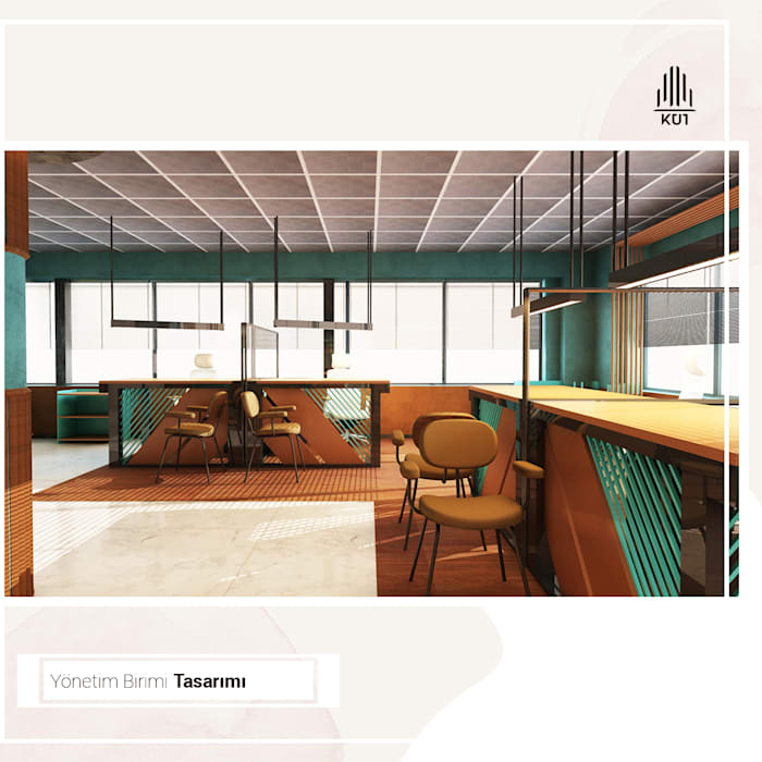 Yönetim Birimi Çalışma Alanı - Render Görseli Rustik Çalışma Odası Kut İç Mimarlık Rustik Ahşap Ahşap rengi