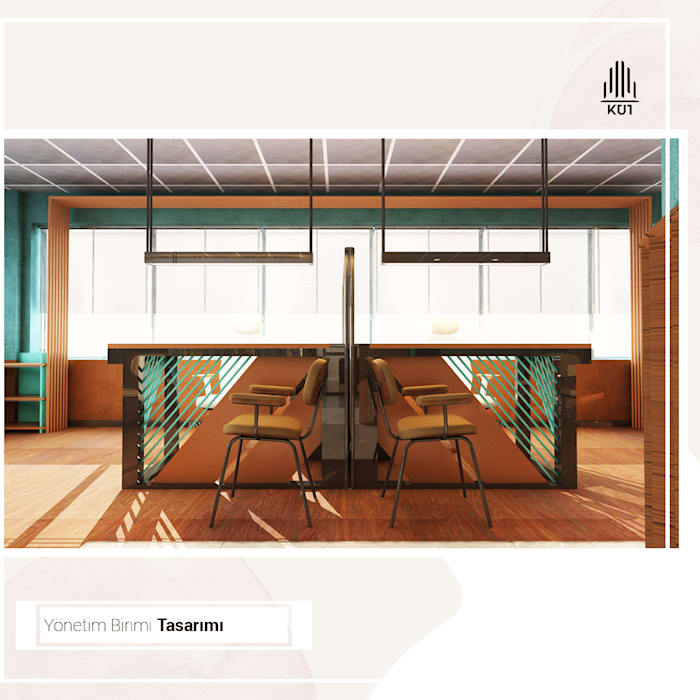 Yönetim Birimi Çalışma Alanı - Render Görseli Kut İç Mimarlık Rustik Çalışma Odası Ahşap Ahşap rengi