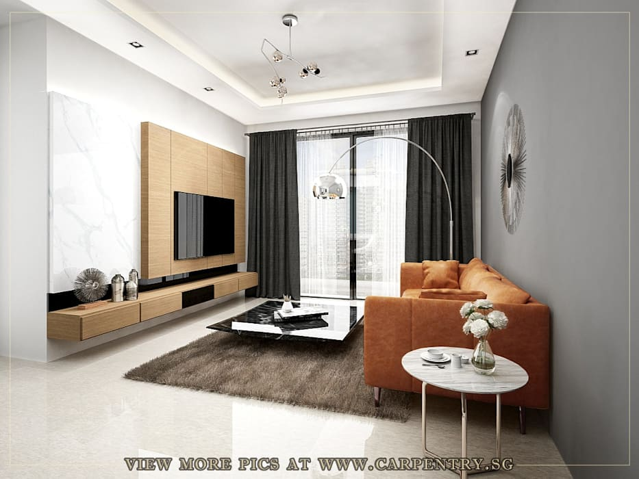 Stylish, Contemporary Living at Watermark Robertson Quay Modern living room by Singapore Carpentry Interior Design Pte Ltd Modern Wood Wood effect