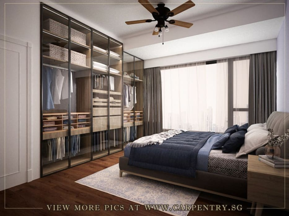 Stylish, Contemporary Living at Watermark Robertson Quay Classic style bedroom by Singapore Carpentry Interior Design Pte Ltd Classic Wood Wood effect