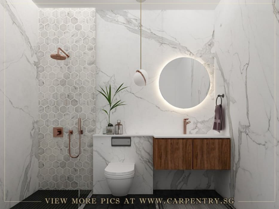 Stylish, Contemporary Living at Watermark Robertson Quay Modern bathroom by Singapore Carpentry Interior Design Pte Ltd Modern Marble