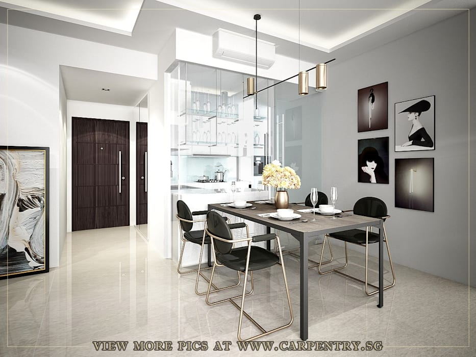 Stylish, Contemporary Living at Watermark Robertson Quay Modern dining room by Singapore Carpentry Interior Design Pte Ltd Modern Marble