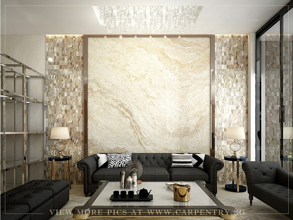 Stunning Monochromatic Accomodations At Corporation Rise Singapore Carpentry Interior Design Pte Ltd Modern living room Marble Metallic/Silver