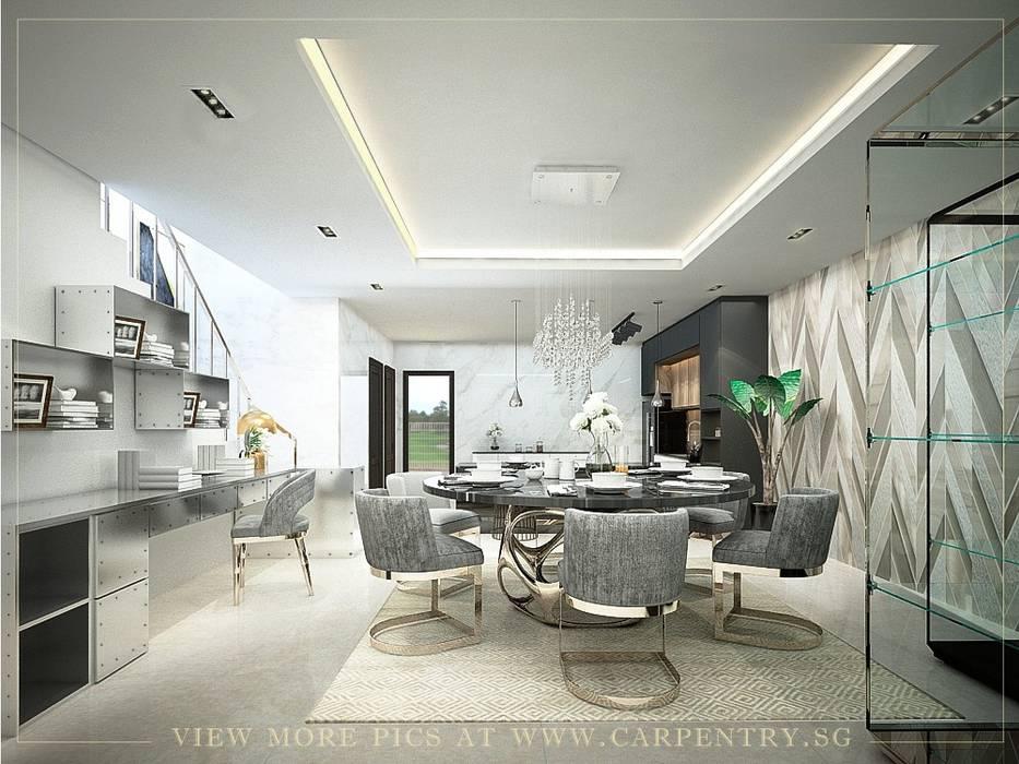 Stunning Monochromatic Accomodations At Corporation Rise Singapore Carpentry Interior Design Pte Ltd Modern dining room Marble Metallic/Silver