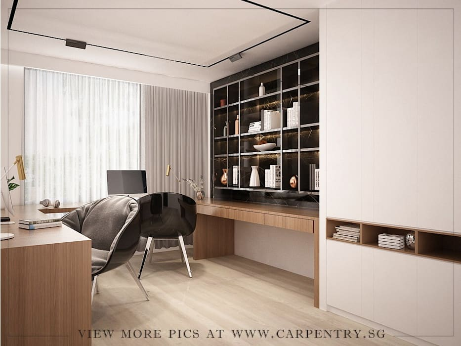 Stunning Monochromatic Accomodations At Corporation Rise Modern style bedroom by Singapore Carpentry Interior Design Pte Ltd Modern Wood Wood effect