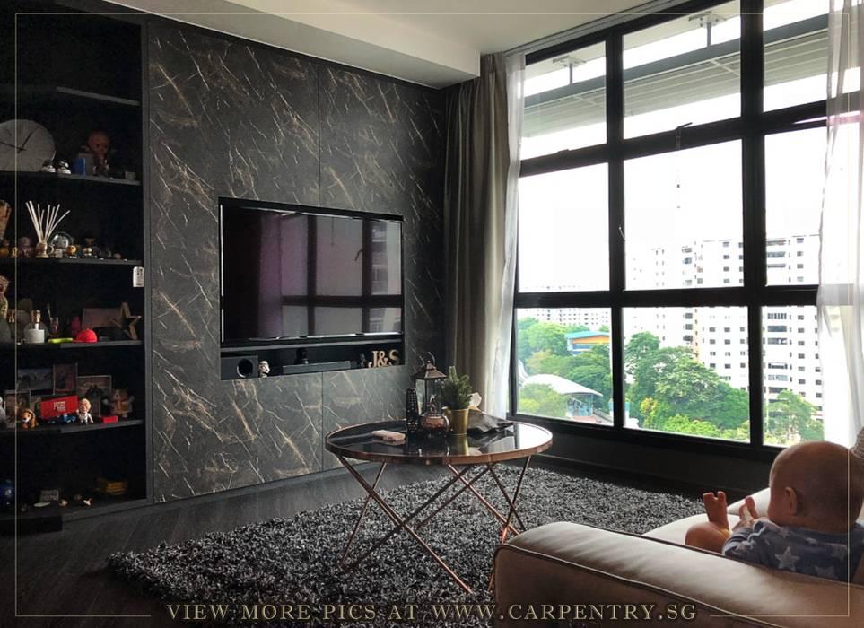 Modern Luxury @ Joshua's House Singapore Carpentry Interior Design Pte Ltd Industrial style living room Marble Black