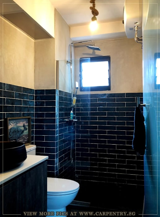 Modern Luxury @ Joshua's House Industrial style bathroom by Singapore Carpentry Interior Design Pte Ltd Industrial Bricks