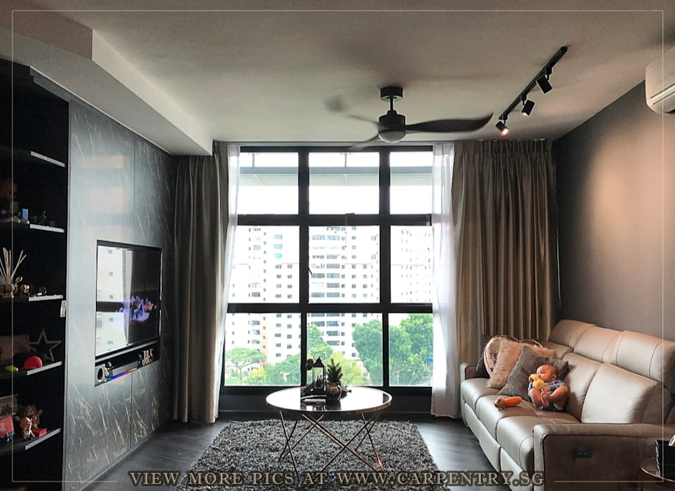 Modern Luxury @ Joshua's House Industrial style living room by Singapore Carpentry Interior Design Pte Ltd Industrial Marble