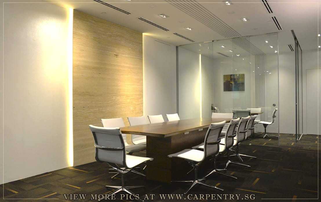Contemporary and Sophisticated Office Singapore Carpentry Interior Design Pte Ltd Modern office buildings Wood Wood effect