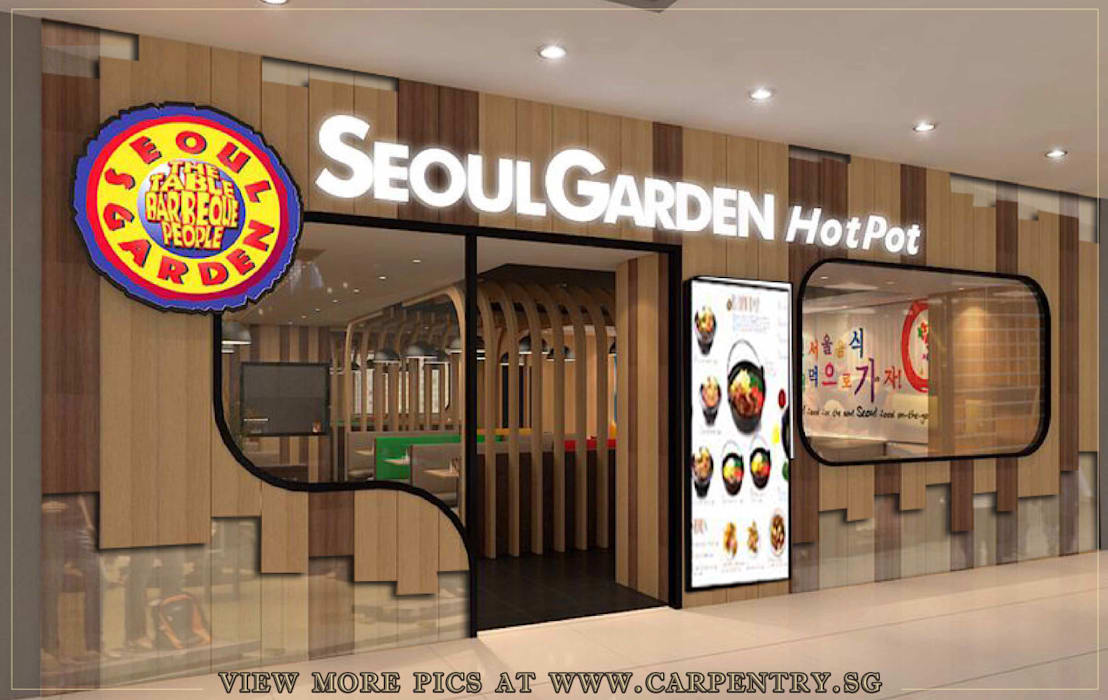 Rustic Meets Modern - Seoul Garden Restaurant Project by Singapore Carpentry Interior Design Pte Ltd Asian Wood Wood effect