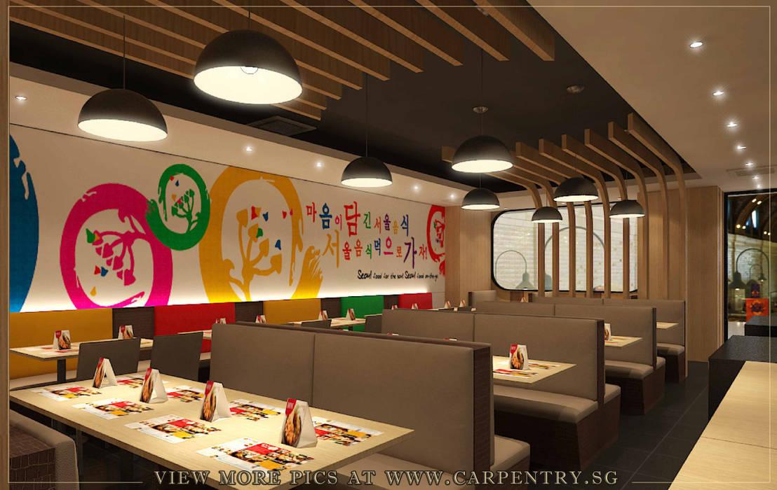 Rustic Meets Modern - Seoul Garden Restaurant Project Singapore Carpentry Interior Design Pte Ltd Commercial Spaces Wood Wood effect