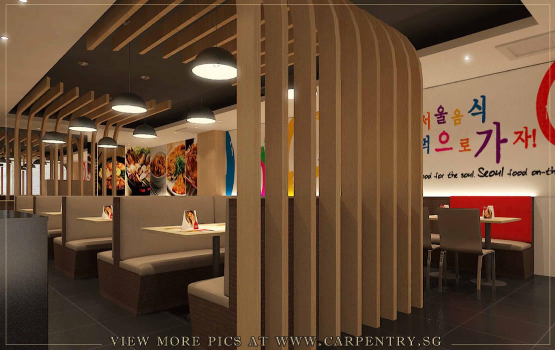 Rustic Meets Modern - Seoul Garden Restaurant Project Singapore Carpentry Interior Design Pte Ltd Asian style gastronomy Wood Wood effect
