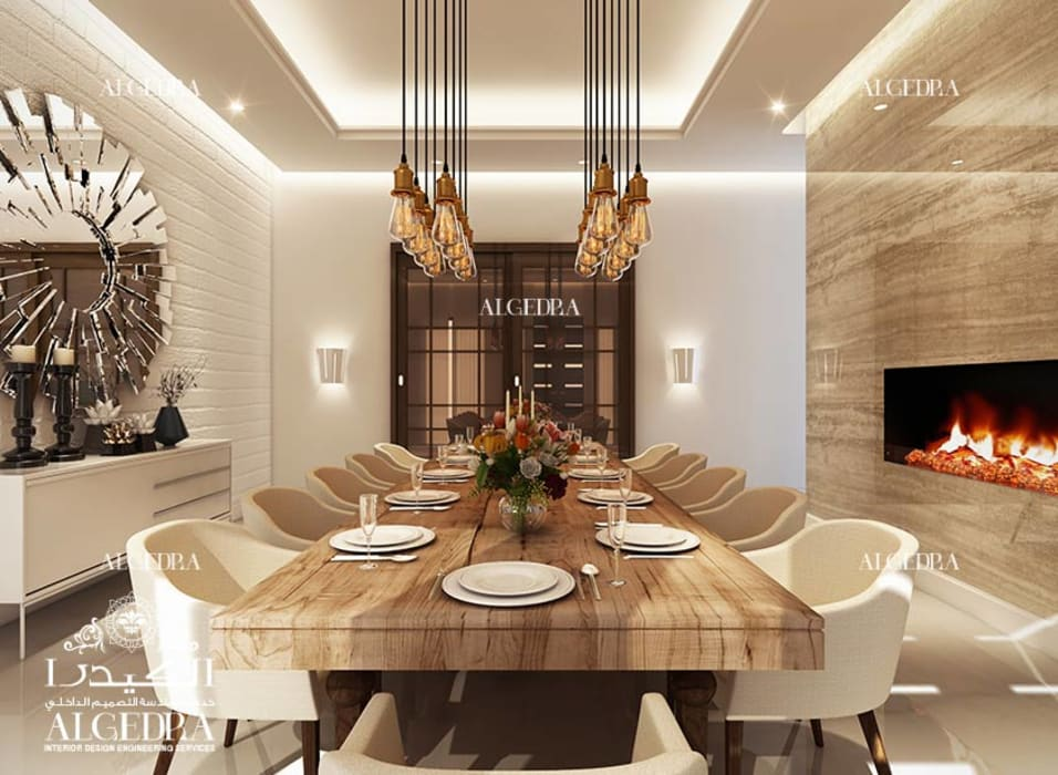 Contemporary dining room in luxury villa Modern Dining Room by Algedra Interior Design Modern