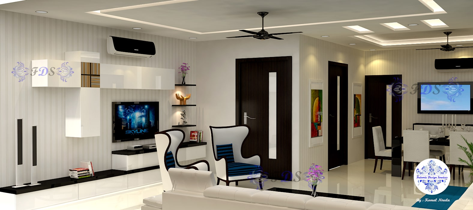Bright & Beautiful Living Dining By Futomic Designs Modern dining room by Futomic Design Services Pvt. Ltd. Modern Wood Wood effect