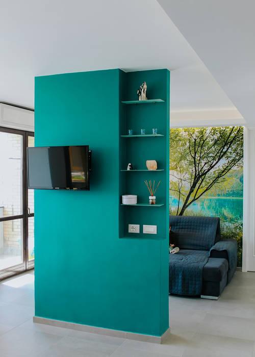 parete divisoria 2 Pareti & Pavimenti in stile moderno di piùottosei architettura Moderno Cemento