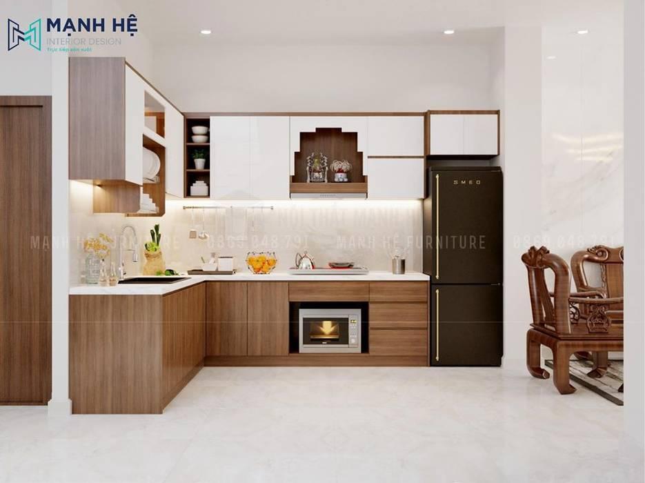 Tủ bếp gỗ công nghiệp Melamine cùng mặt bếp được ốp đá sang trọng bởi Công ty TNHH Nội Thất Mạnh Hệ Hiện đại