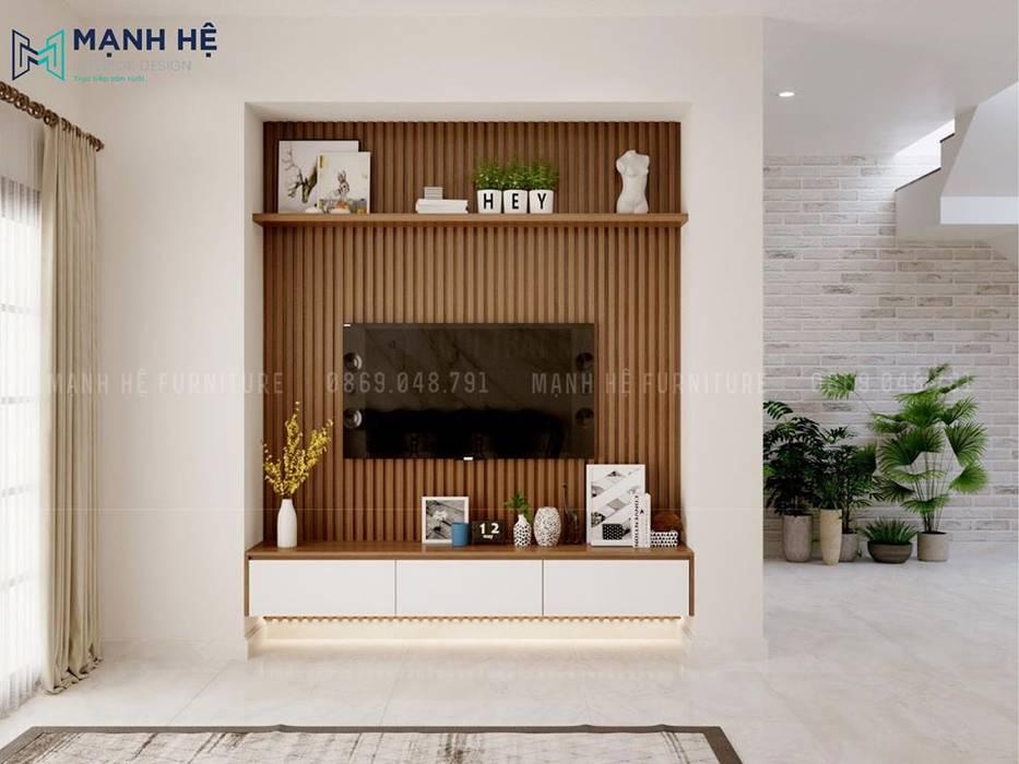 Ốp nan gỗ nhựa tạo điểm nhấn sau kệ tivi treo tường bởi Công ty TNHH Nội Thất Mạnh Hệ Hiện đại
