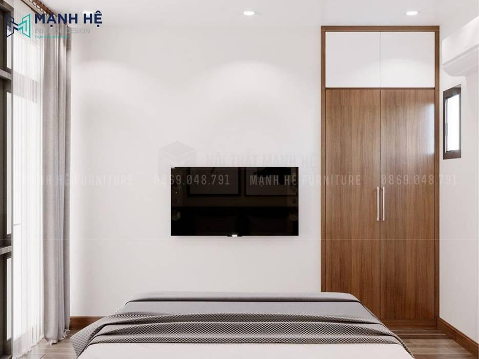 Tủ quần áo âm tường gỗ công nghiệp tiết kiệm không gian tối đa bởi Công ty TNHH Nội Thất Mạnh Hệ Hiện đại