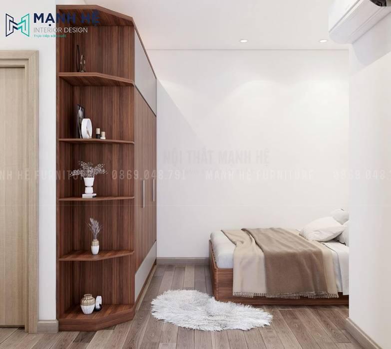 Sàn gỗ sáng màu đối lập với màu nâu sậm của nội thất phòng Công ty TNHH Nội Thất Mạnh Hệ Phòng ngủ nhỏ