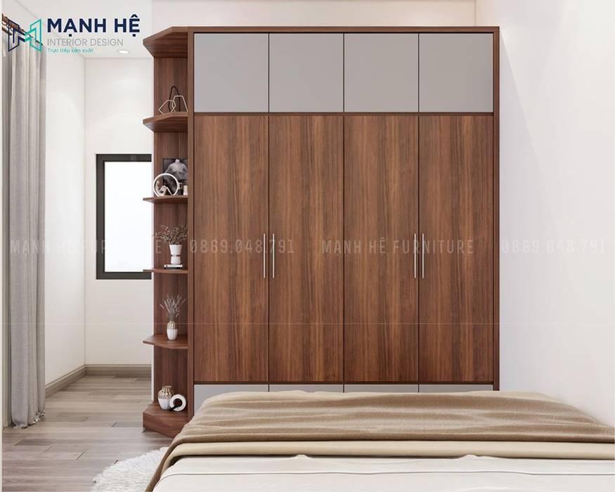Tủ quần áo gỗ công nghiệp được bố trí hộc tủ kéo phía dưới tiện nghi bởi Công ty TNHH Nội Thất Mạnh Hệ Hiện đại