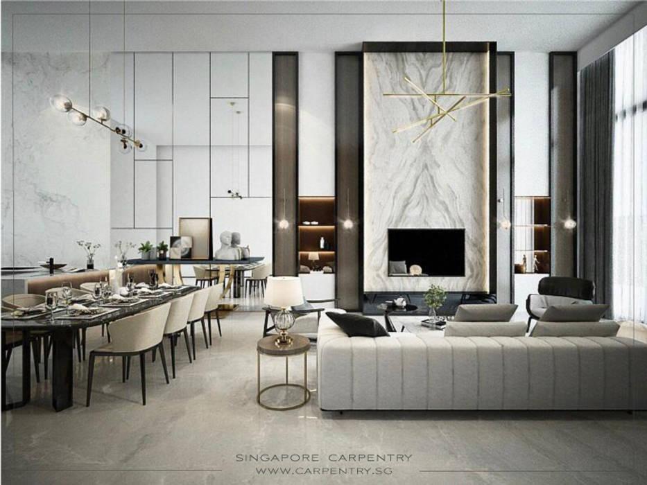Sophisticated Comfort @ Lentor Terrace Modern living room by Singapore Carpentry Interior Design Pte Ltd Modern Marble