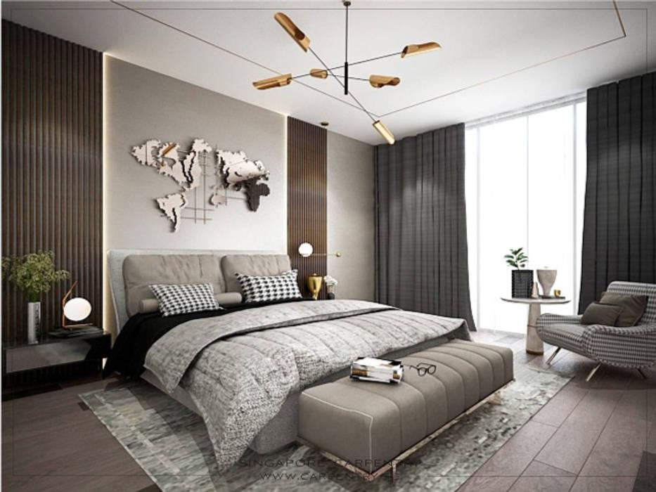 Sophisticated Comfort @ Lentor Terrace Modern style bedroom by Singapore Carpentry Interior Design Pte Ltd Modern Metal