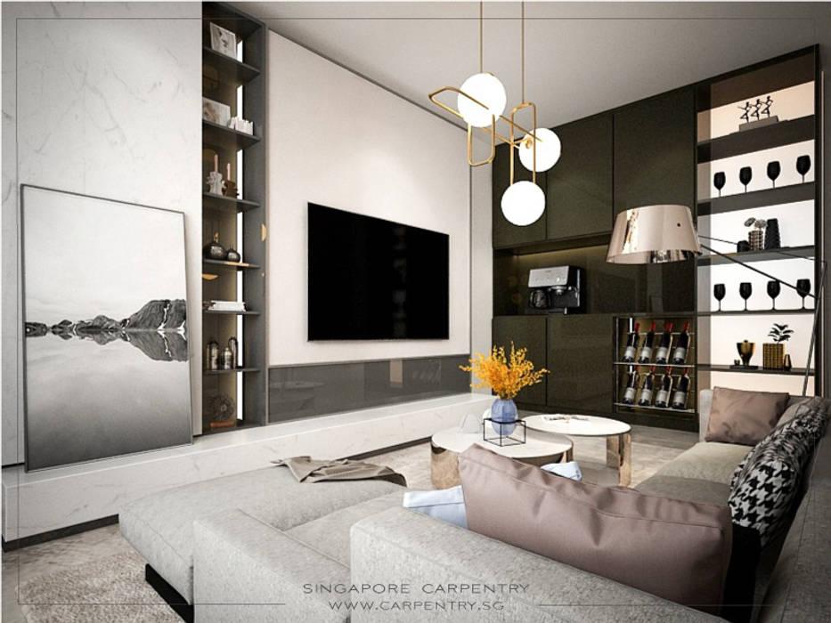 Sophisticated Comfort @ Lentor Terrace Modern media room by Singapore Carpentry Interior Design Pte Ltd Modern Wood Wood effect