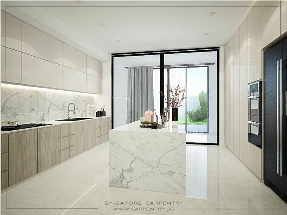 Singapore Carpentry Interior Design Pte Ltd Dapur Minimalis Metal White