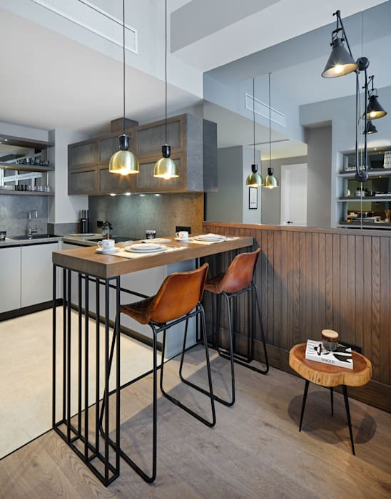 Kitchen Esra Kazmirci Mimarlik KitchenCabinets & shelves Wood Grey