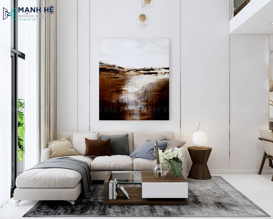 Ghế sofa màu trắng lịch lãm bởi Công ty TNHH Nội Thất Mạnh Hệ Hiện đại Cục đá