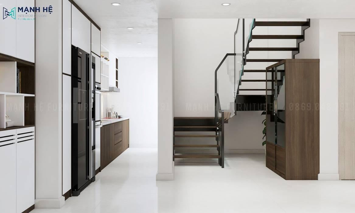 Phòng bếp đẹp theo phong cách độc đáo cho không gian nhỏ bởi Công ty TNHH Nội Thất Mạnh Hệ Hiện đại Cục đá