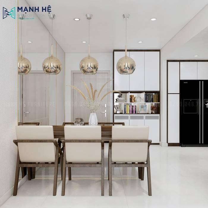 Phòng ăn với bàn ăn 6 người Phòng ăn phong cách hiện đại bởi Công ty TNHH Nội Thất Mạnh Hệ Hiện đại Cục đá