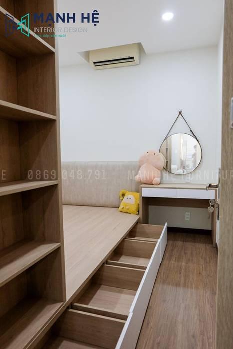 Giường ngủ có hộc kéo rộng rãi và gắn trợ lực cho thao tác dễ dàng hơn bởi Công ty TNHH Nội Thất Mạnh Hệ Hiện đại