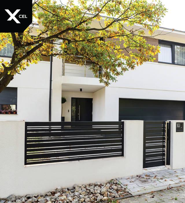 Nowoczesne ogrodzenie aluminiowe w kolorze czarnym od XCEL Fence Nowoczesny