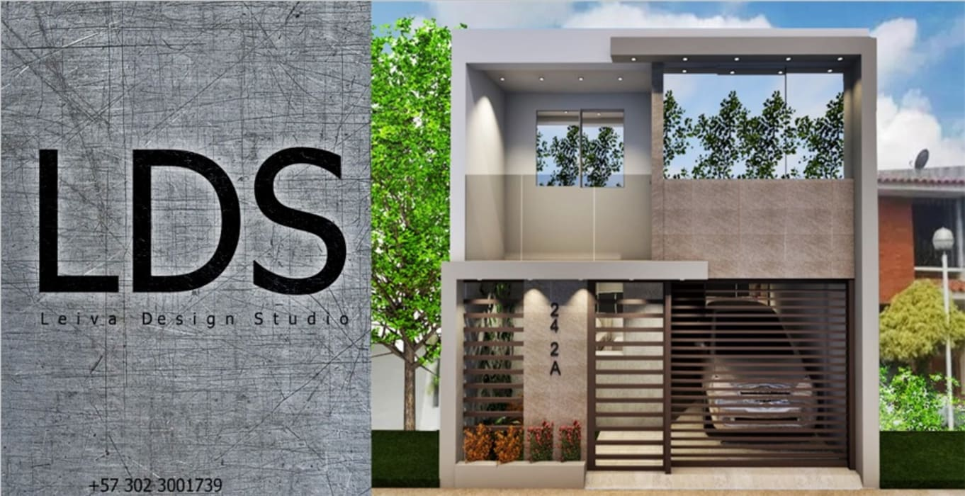 Diseño de fachada de vivienda unifamiliar. Leiva Design Studio Casas pequeñas