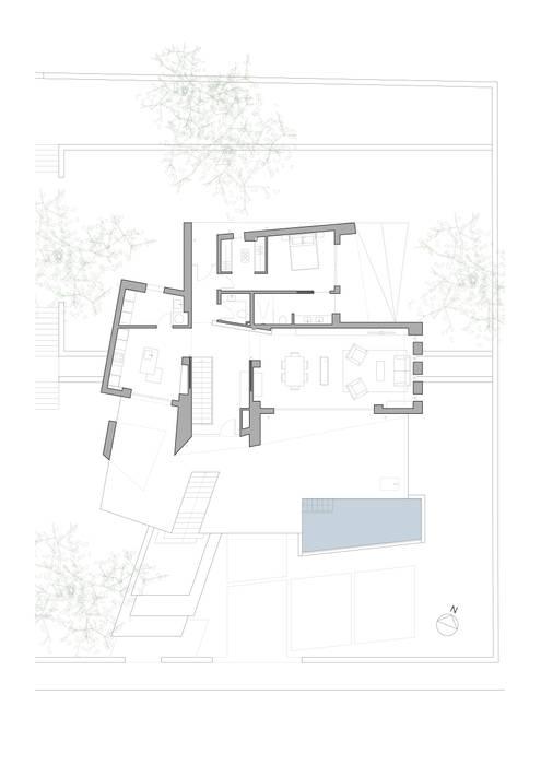 Planta primera vivienda unifamiliar. Salones de estilo minimalista de Barreres del Mundo Architects. Arquitectos e interioristas en Valencia. Minimalista