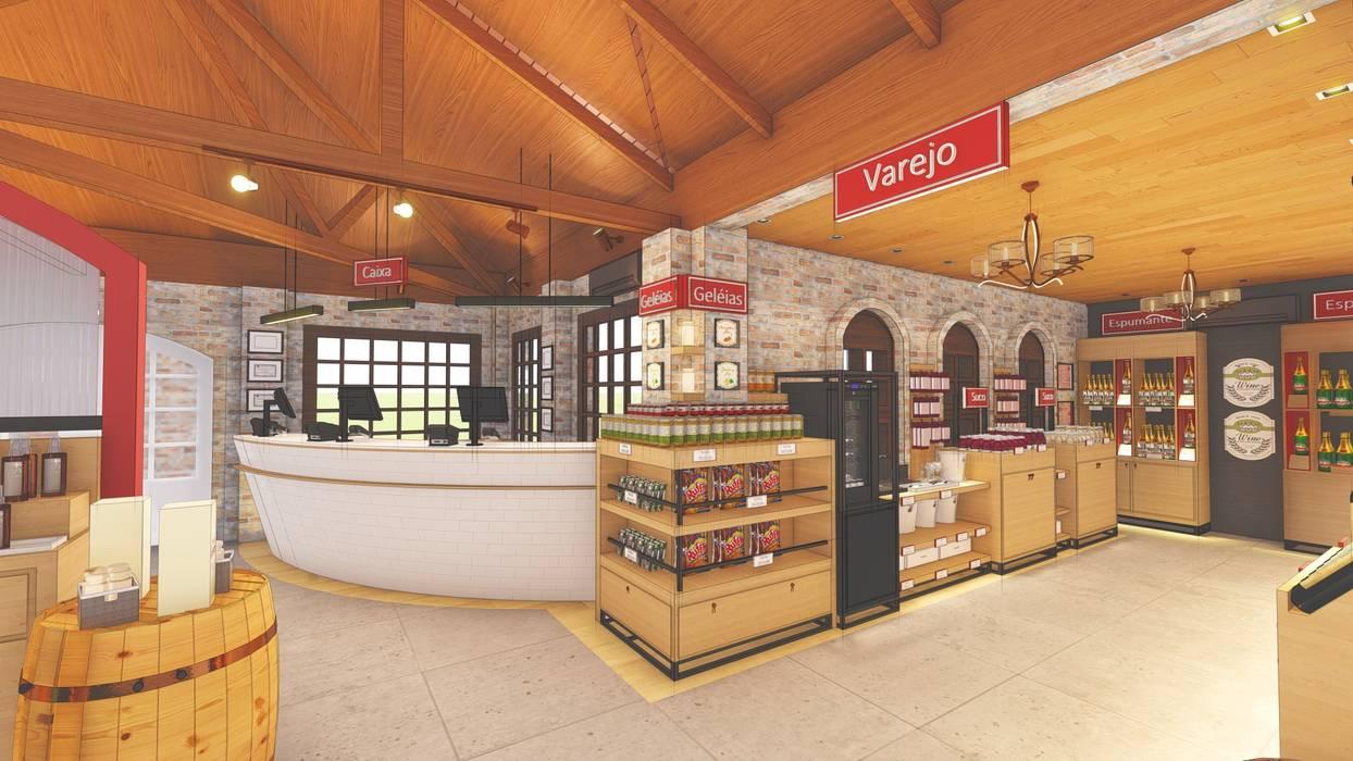 Espaço de Varejo - Vinícola Adegas modernas por Daniela Manosso Bampi - Arquitetura Inteligente Moderno Derivados de madeira Transparente