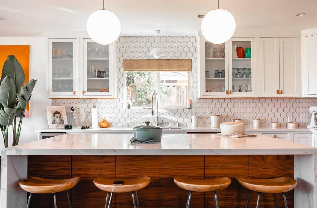 White kitchen Angelina Mora Designs Modern Kitchen Wood White