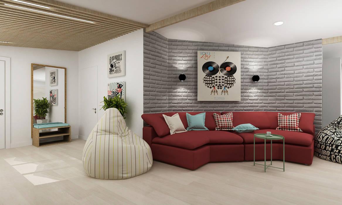 Проект дома в Москве Гостиные в эклектичном стиле от Творческая мастерская Лузан Ирины Эклектичный