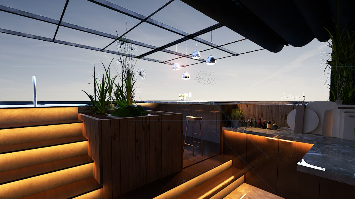 Loop Projects Balcone, Veranda & Terrazza in stile moderno