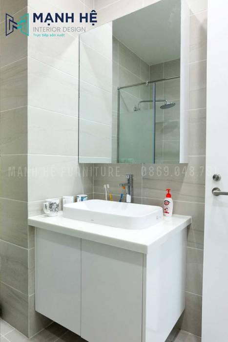Lavabo mặt đá sang trọng cho nhà vệ sinh hiện đại Phòng tắm phong cách hiện đại bởi Công ty TNHH Nội Thất Mạnh Hệ Hiện đại
