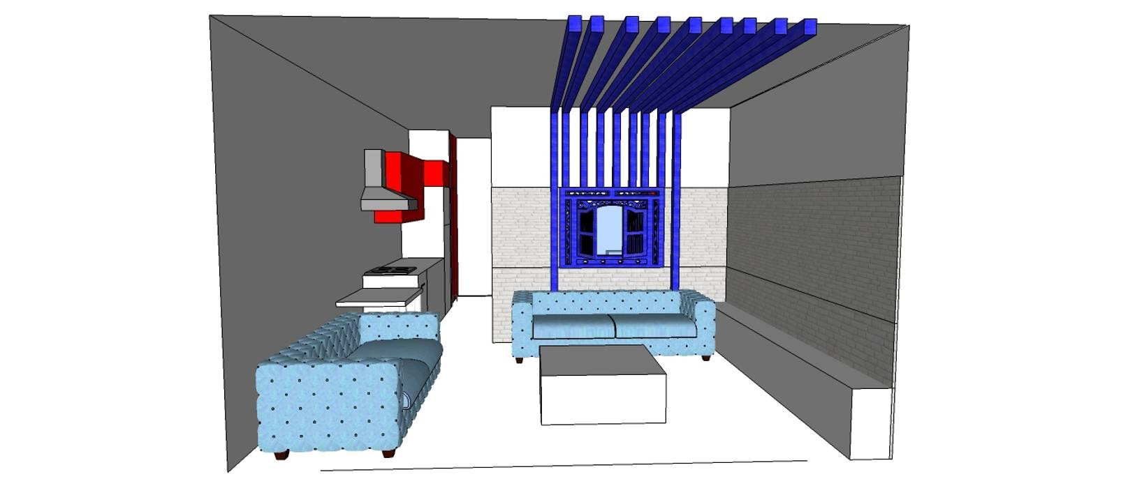 SERPİCİ's Mimarlık ve İç Mimarlık Architecture and INTERIOR DESIGN Soggiorno minimalista PVC Blu