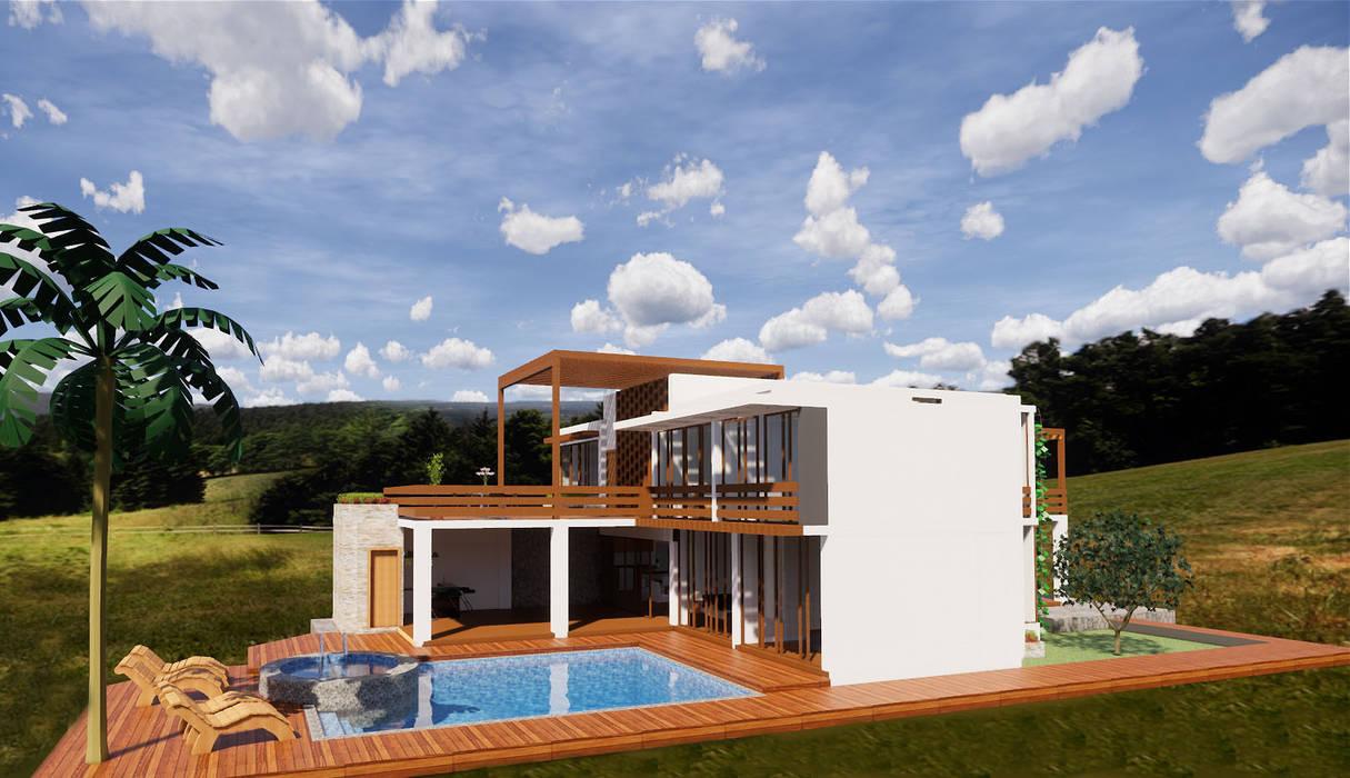 Terraza piscina de ROQA.7 ARQUITECTURA Y PAISAJE Rústico