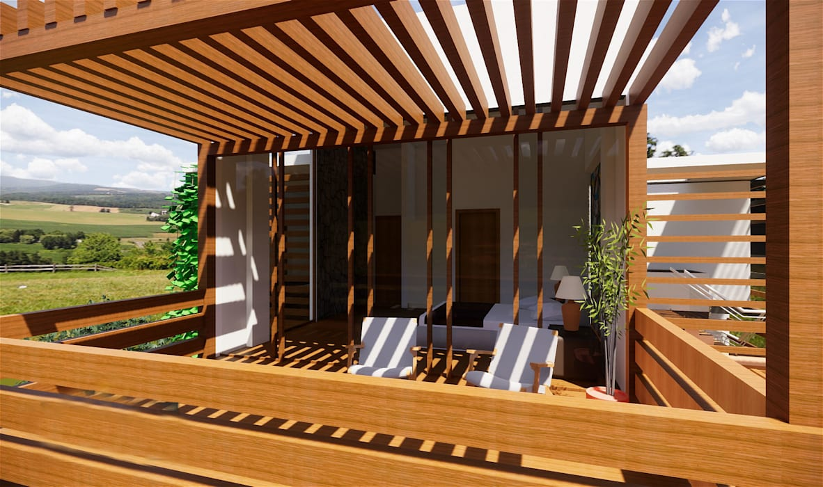 Terraza 2do nivel ROQA.7 ARQUITECTURA Y PAISAJE Balcones y terrazas rústicos