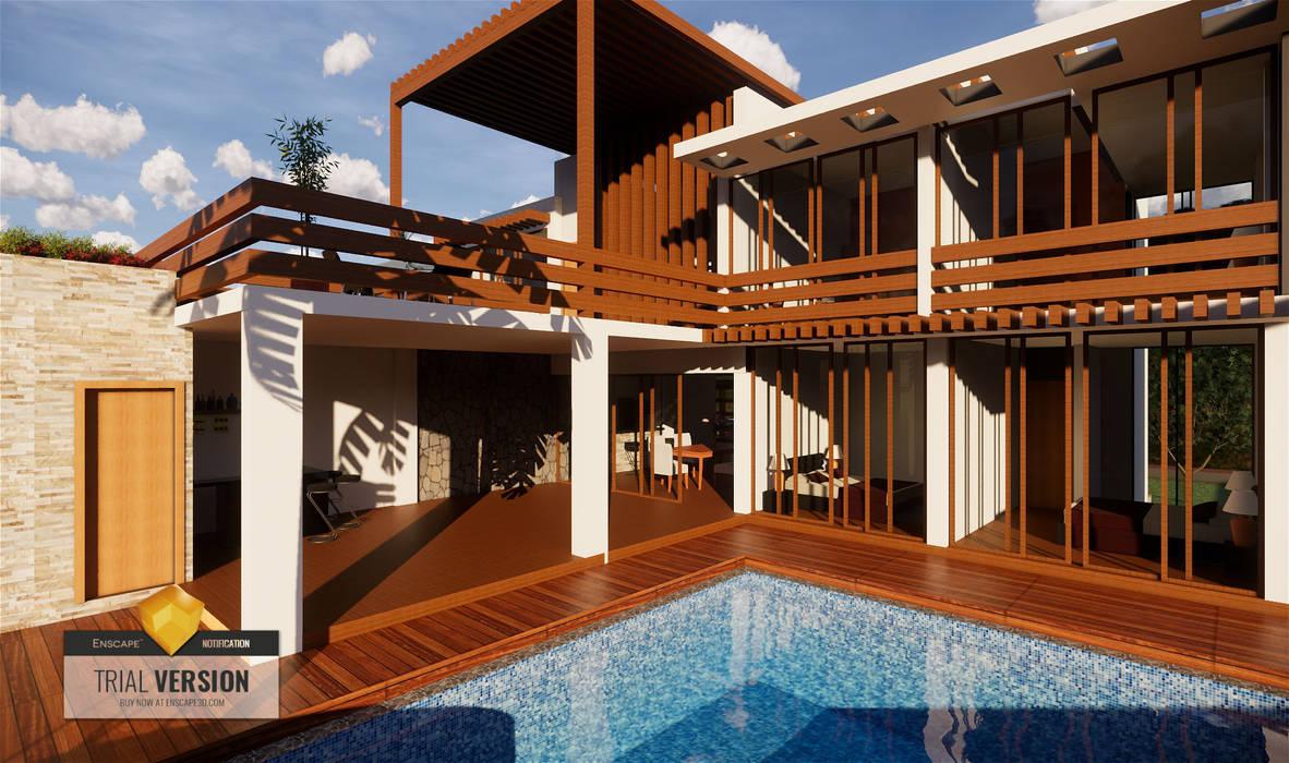 Piscina y terrazas ROQA.7 ARQUITECTURA Y PAISAJE Piscinas de jardín