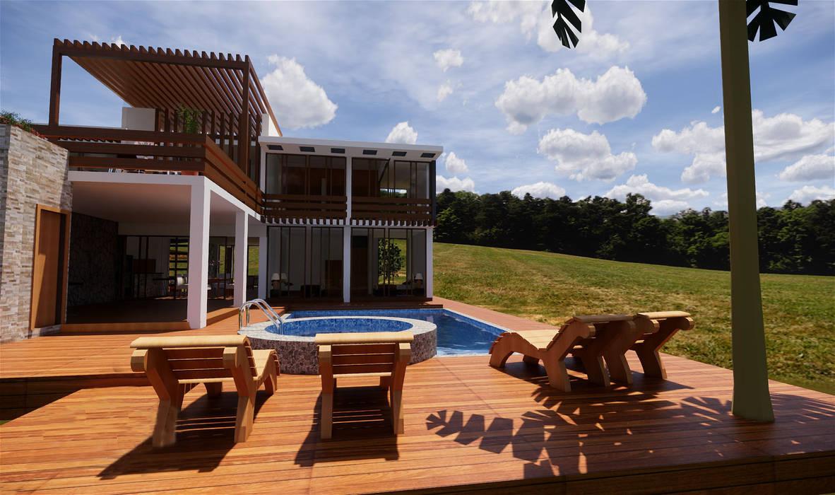 Piscina y terrazas Balcones y terrazas rústicos de ROQA.7 ARQUITECTURA Y PAISAJE Rústico