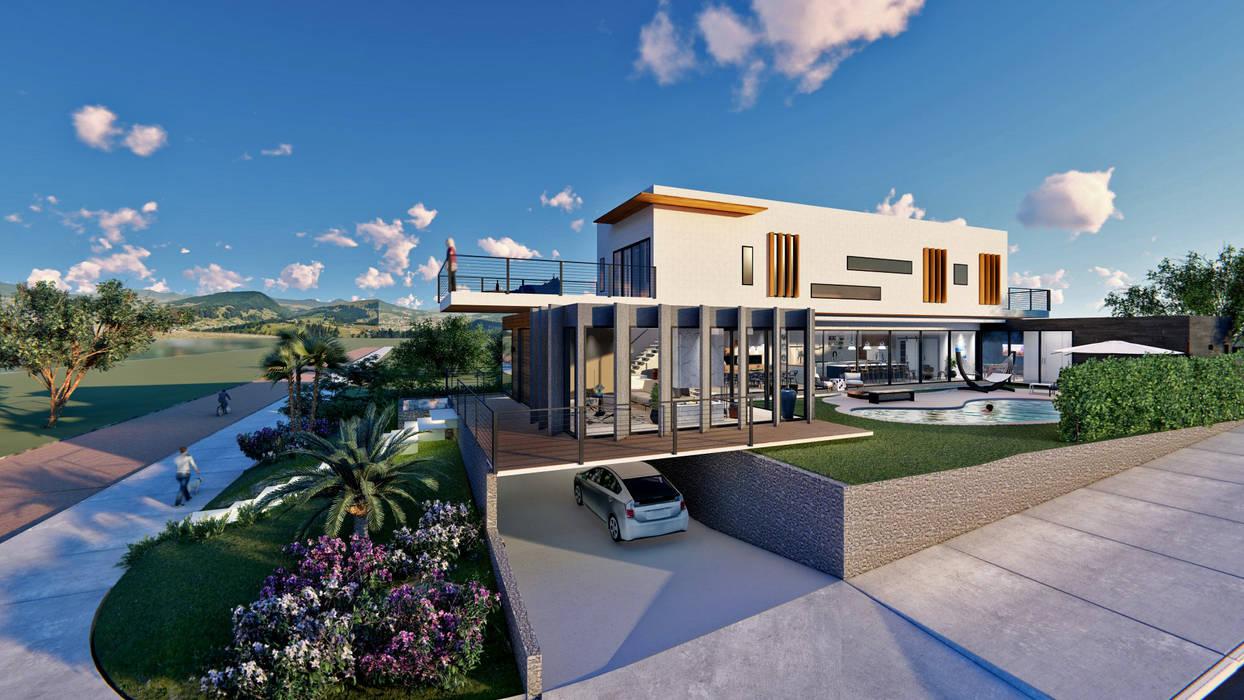 Fachada lateral - Casa Umami Casas modernas por Studio Ideação Moderno Concreto