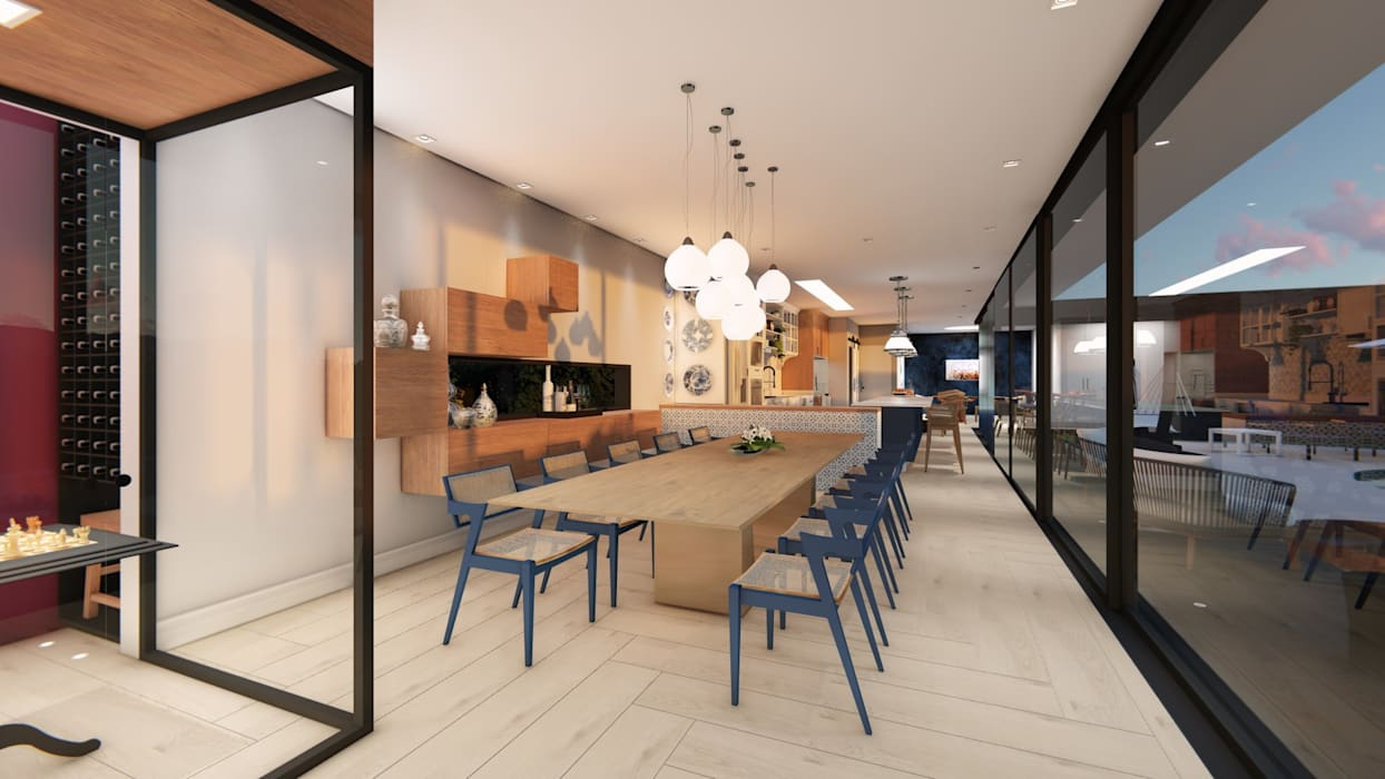 Ruang Makan Gaya Eklektik Oleh Studio Ideação Eklektik Kayu Wood effect