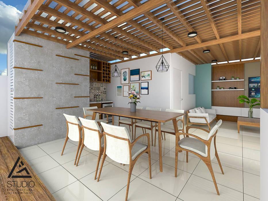 Comedor al aire libre G2studio Balcones y terrazas modernos Concreto Acabado en madera